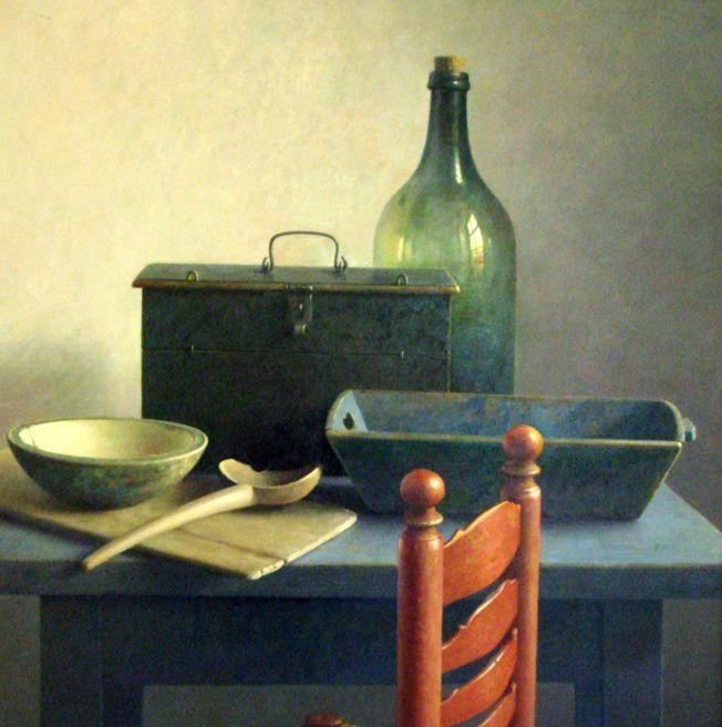 """Rode Keuken Te Koop : Stilleven oma's keuken met rode stoel"""", olieverf op linnen, 70 x 70"""